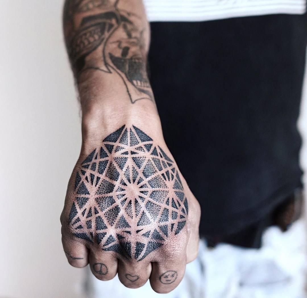 Hand's piece by tattooist NEENO