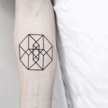 Hypercube tattoo by Malvina Maria Wisniewska