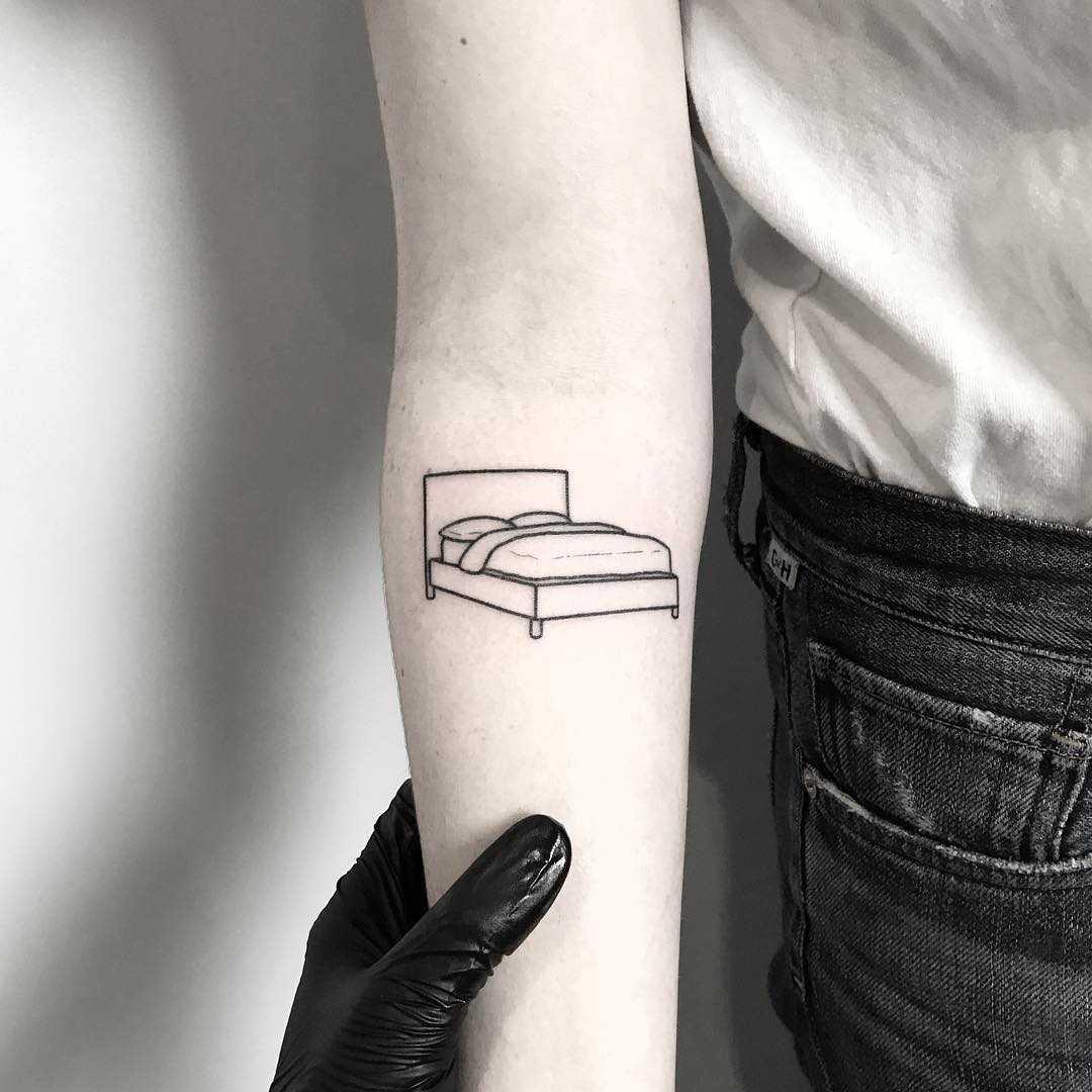 IKEA bed tattoo by tattooist pokeeeeeeeoh