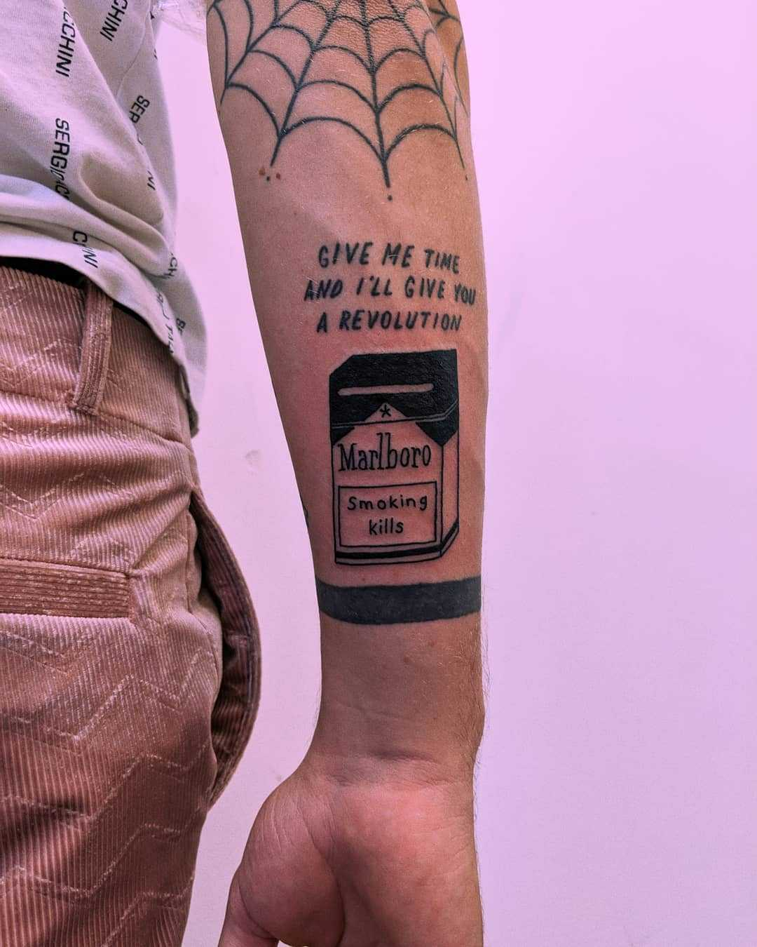 Pack of smokes tattoo by Tristan Ritter