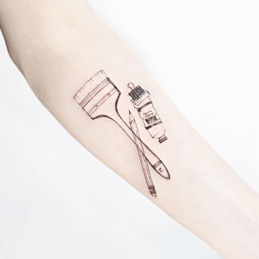 Painter's items tattoo by tattooist Ida
