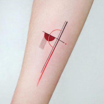 Red abstract tattoo by tattooist Ida
