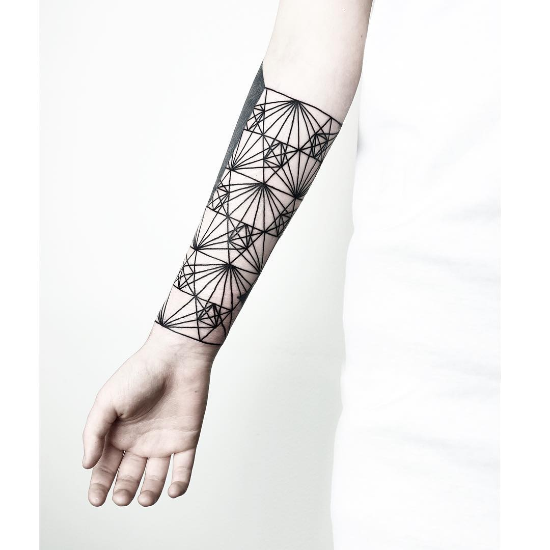 Sacred geometry forearm by Malvina Maria Wisniewska