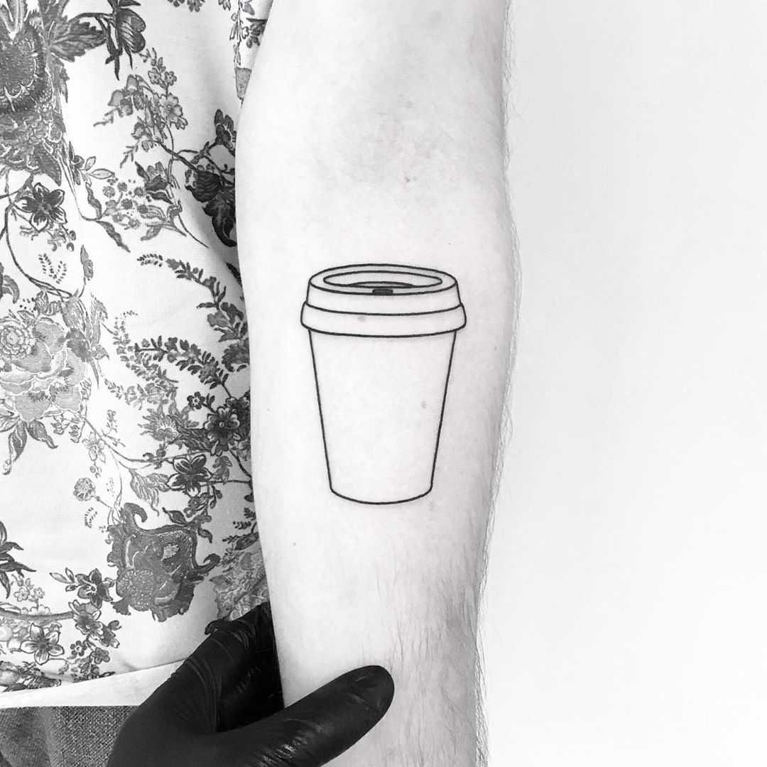 Take away cup tattoo by tattooist pokeeeeeeeoh
