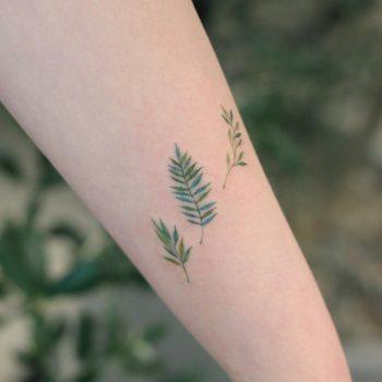 Three leaves by tattooist Saegeem