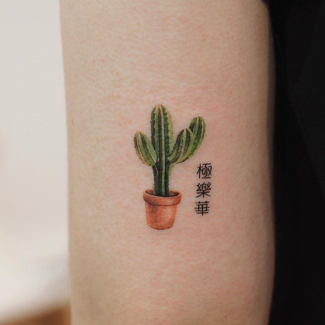 Tiny cactus by tattooist Saegeem