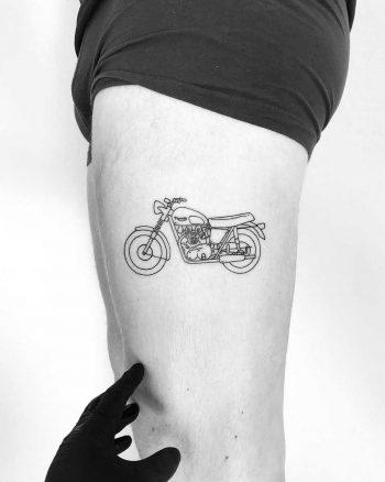 Triumph Bonneville tattoo by tattooist pokeeeeeeeoh