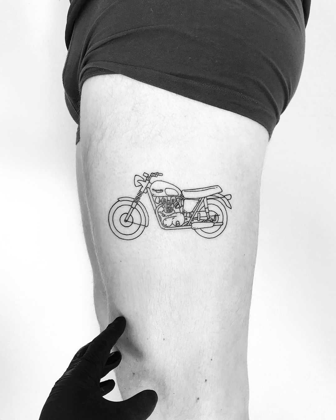 Triumph Bonneville tattoo by tattooist pokeeeeeeeoh