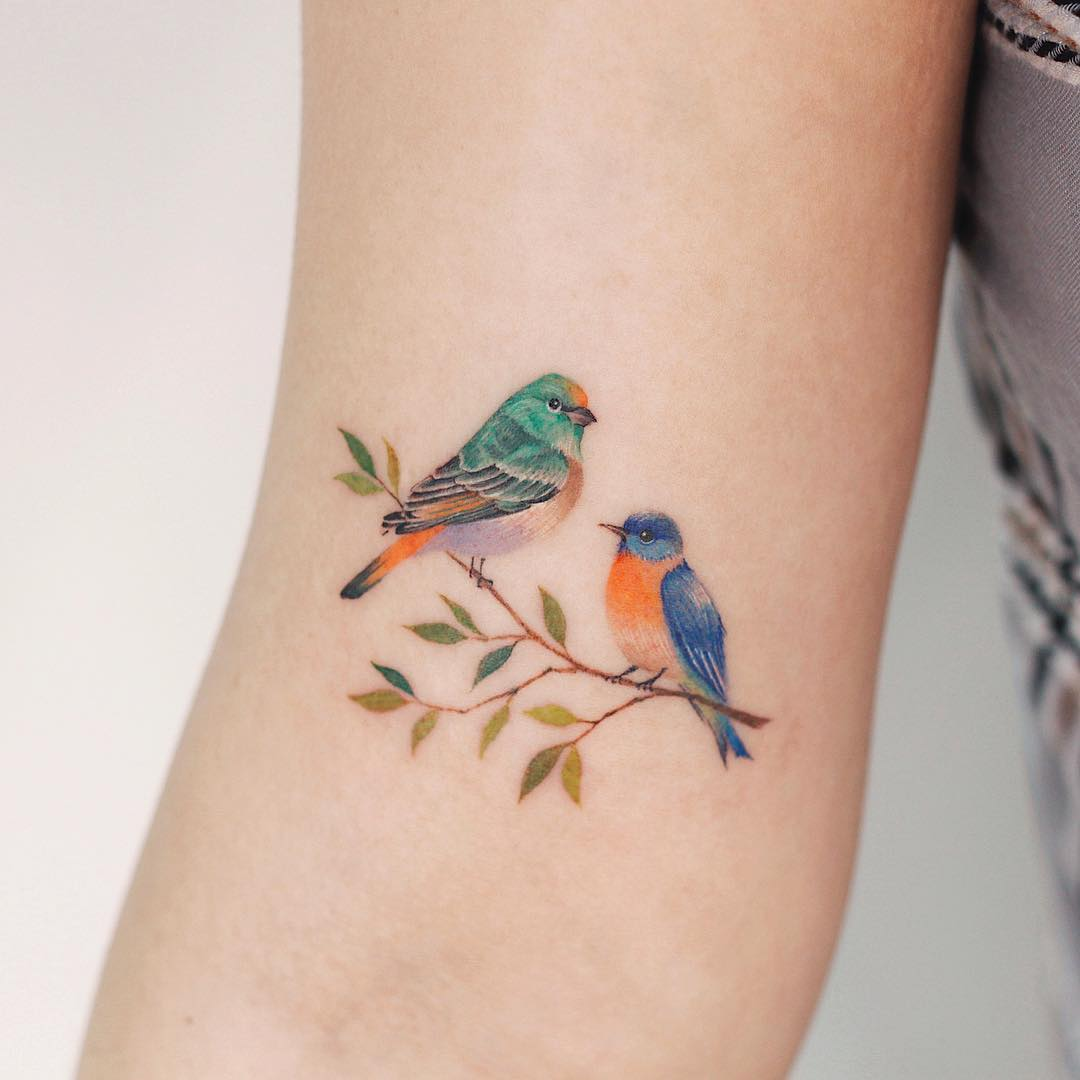 Two birds by tattooist Saegeem