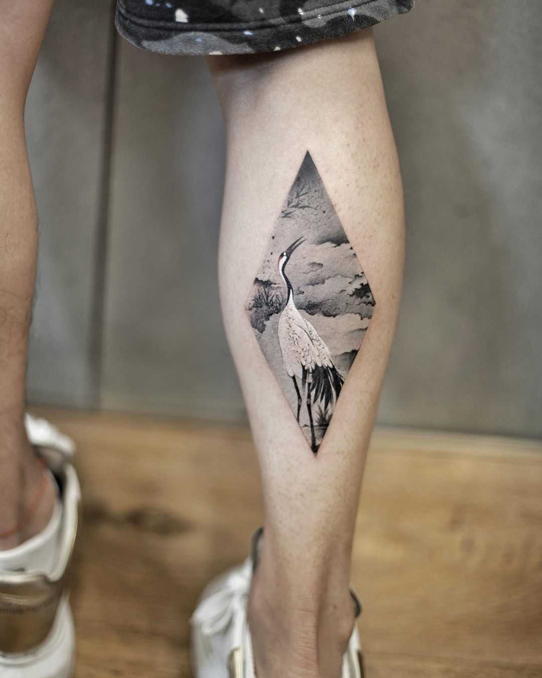 Watercolor crane by tattooist Chenjie