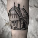 Woodcut style house by tattooist MAIC
