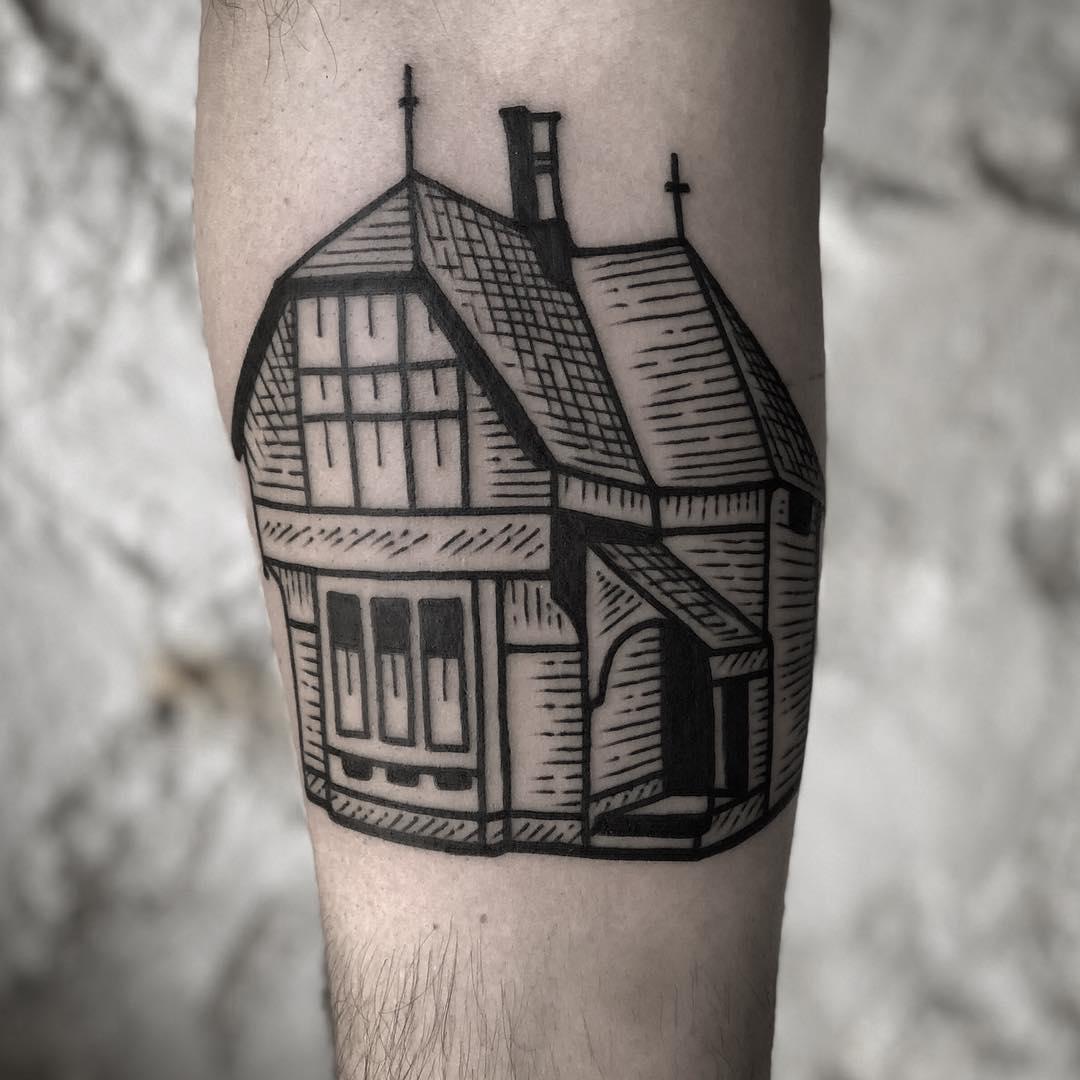 Woodcut style house by tattooist MAIC