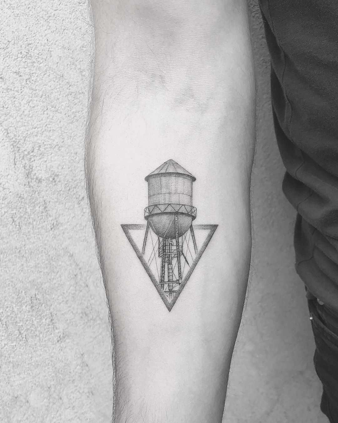 Brooklyn Water tower tattoo by Evgenii Andriu