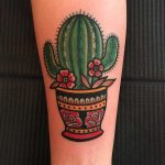 Cactus in a pot by tattooist Alejo GMZ