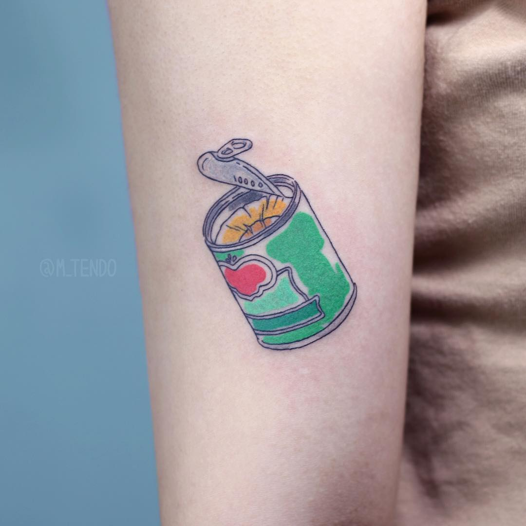 Canned pineapples tattoo by @m_tendo
