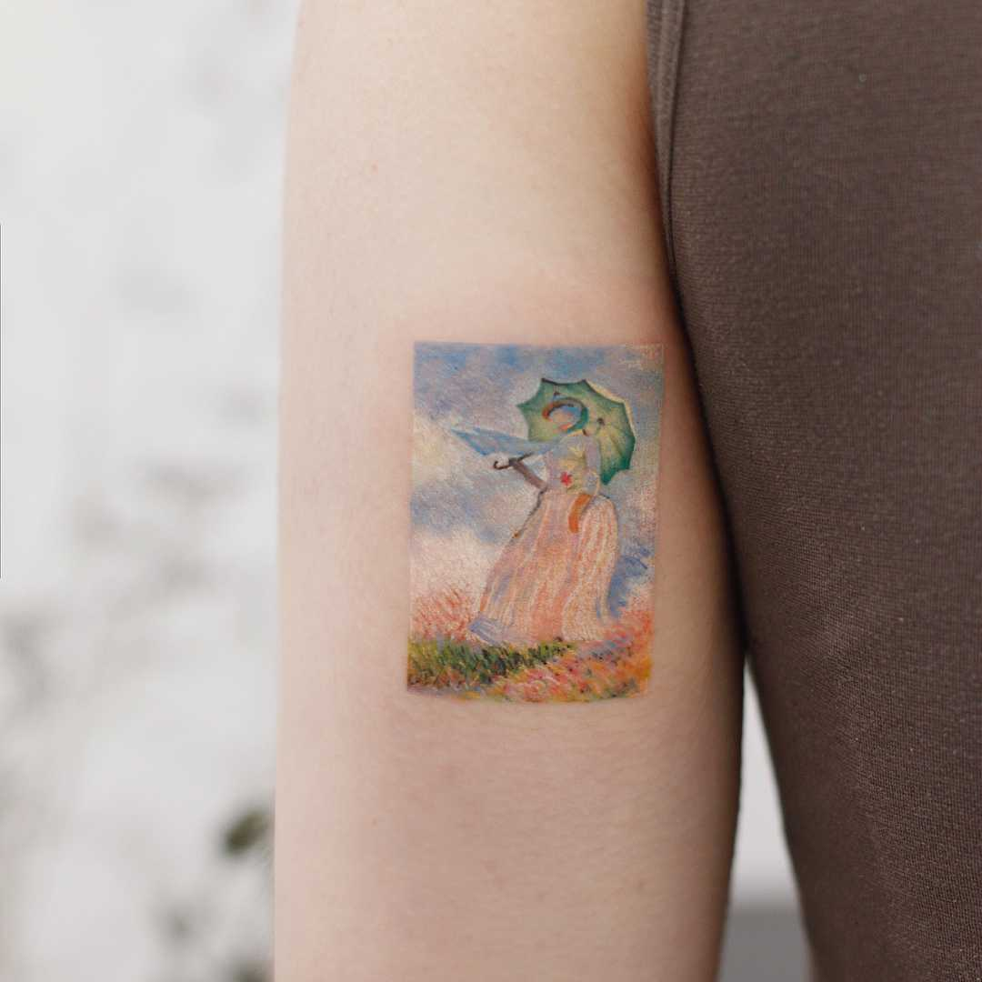 Claude Monet's Woman with a Parasol by tattooist Saegeem