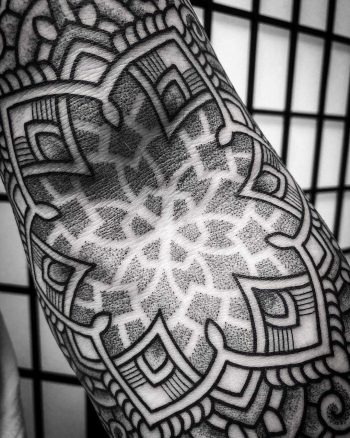 Elbow ditch mandala by tattooist Virginia 108