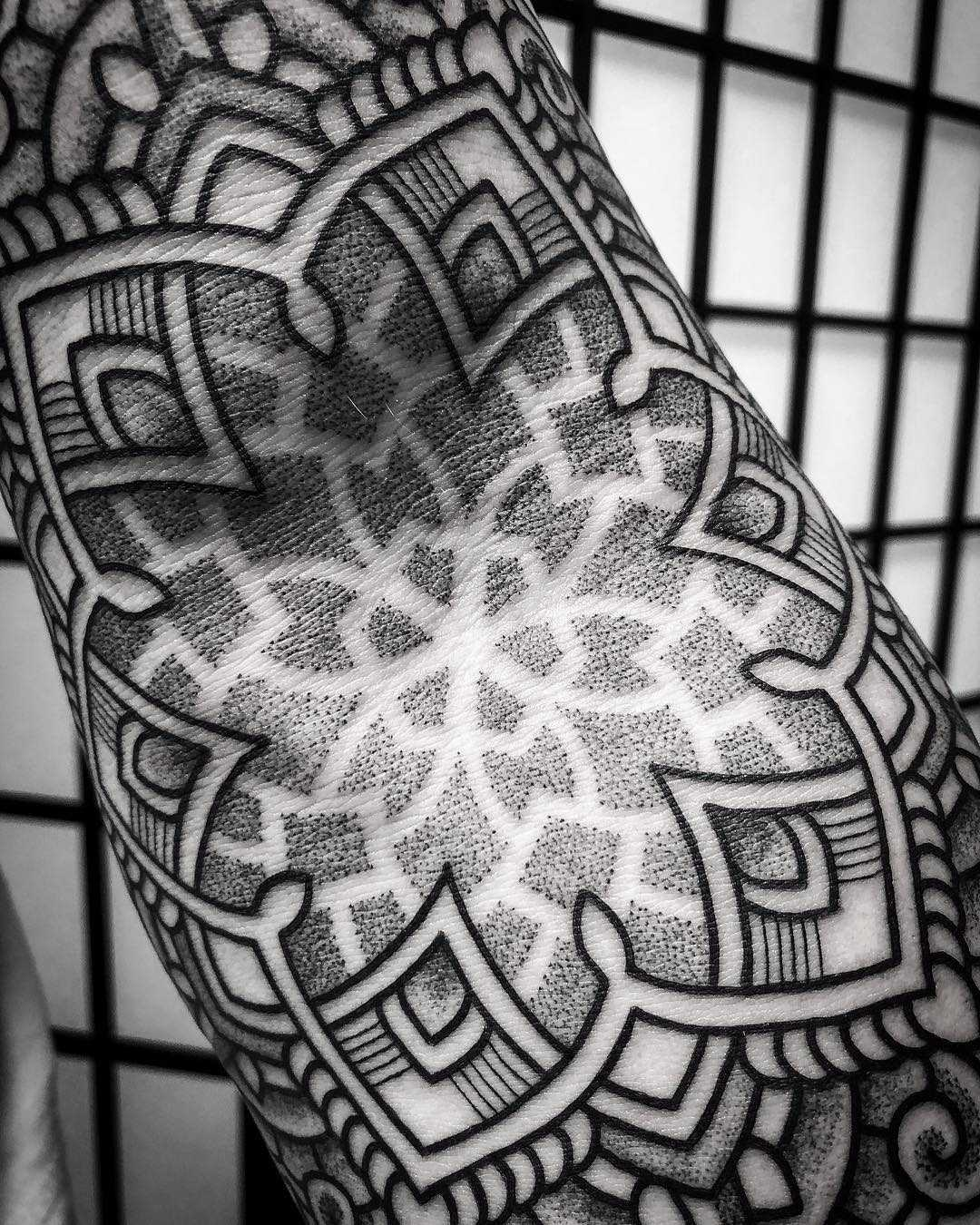 Elbow ditch mandala by tattooist Virginia 108