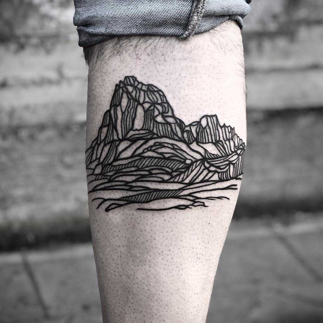 Linear mountains by tattooist MAIC