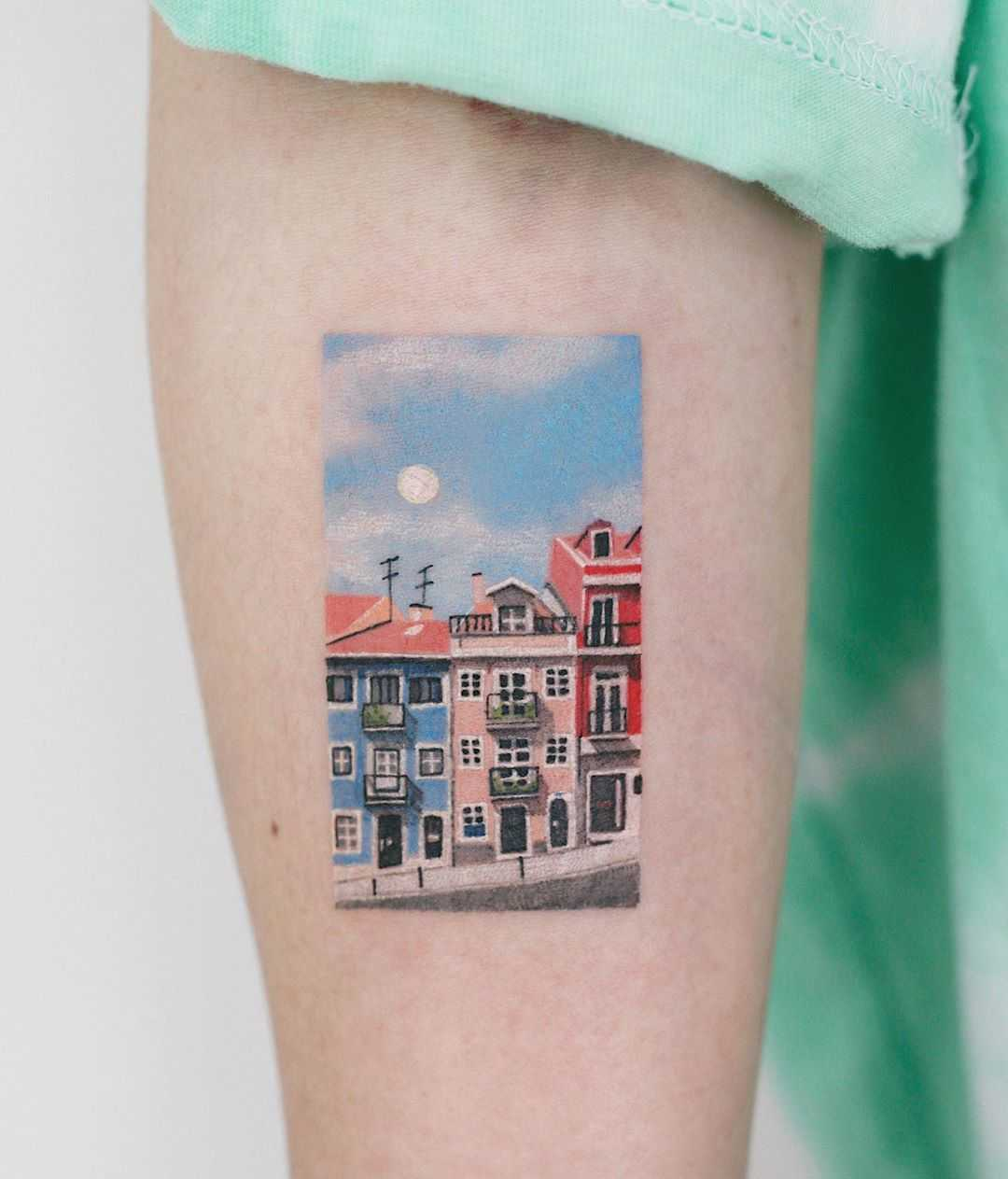 Lovely town tattoo by tattooist Saegeem