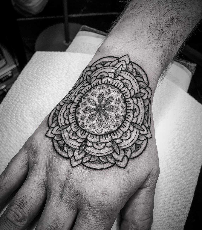 Mandala on a hand by tattooist Virginia 108