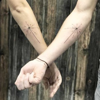 Matching solar map tattoos by Sara Kori