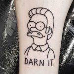 Ned Flanders by tattooist Mr.Heggie