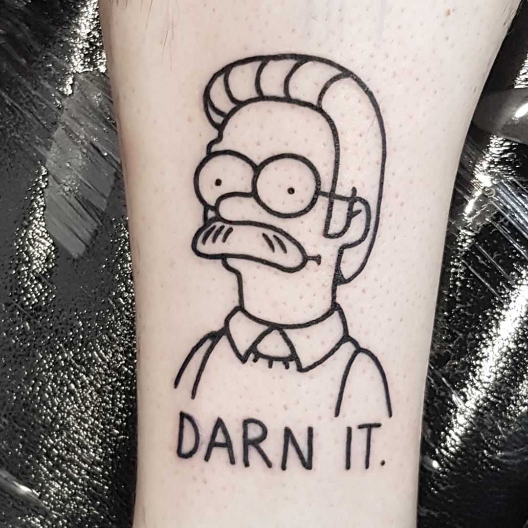 Ned Flanders by tattooist Mr.Heggie