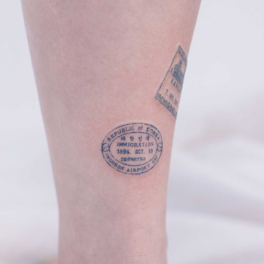 Passport stamp by tattooist Saegeem