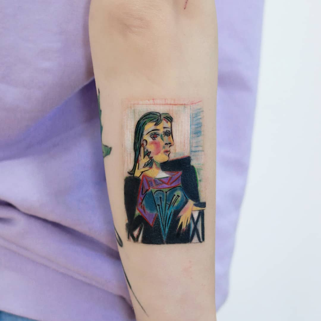 Picasso's Portrait of Dora Maar 1937 tattoo by Hakan Adik