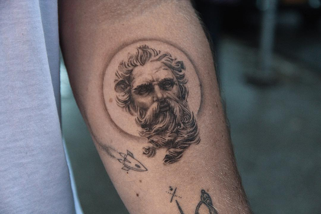 Poseidon tattoo by @ghinkos