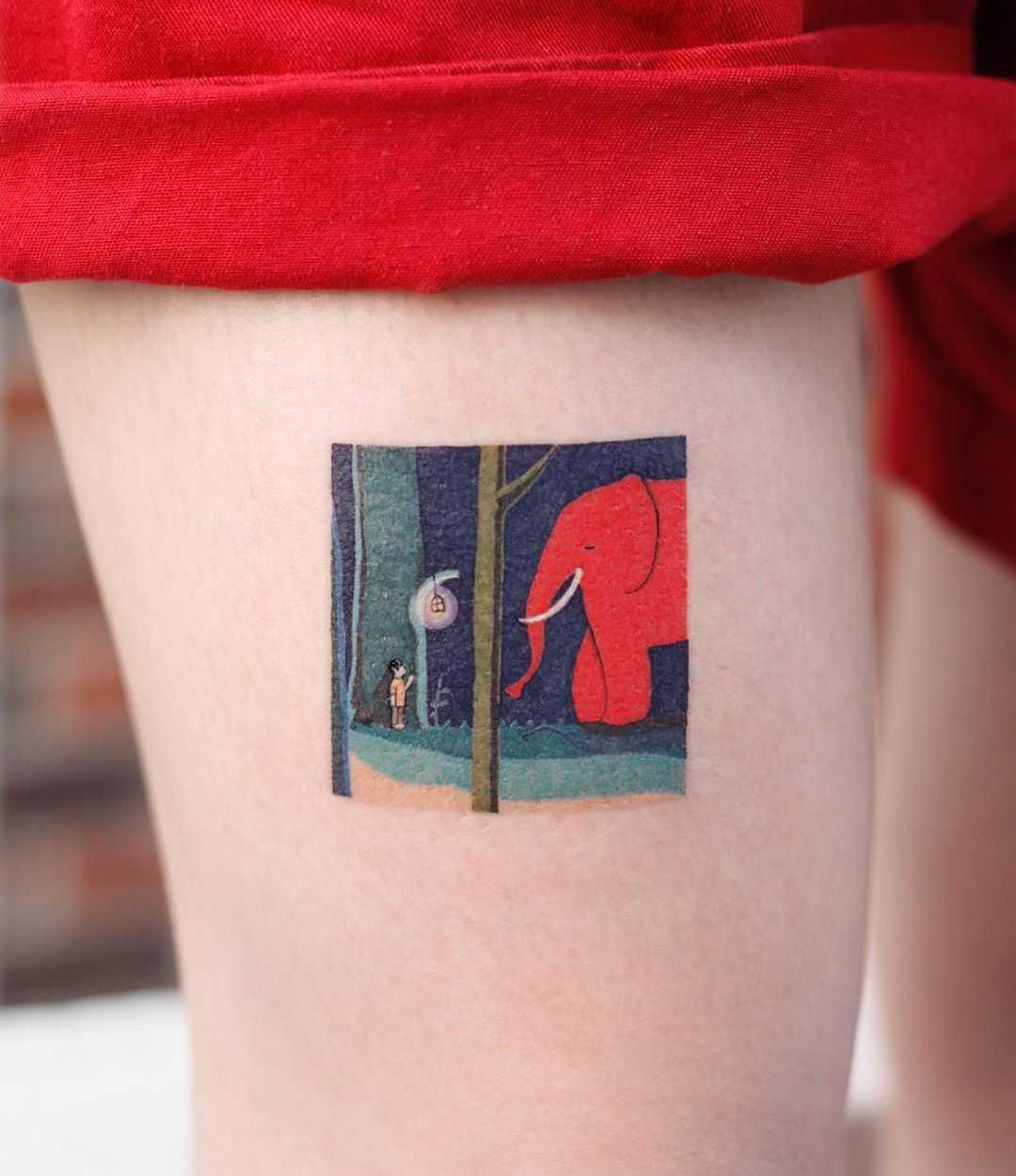 Red elephant by tattooist Saegeem