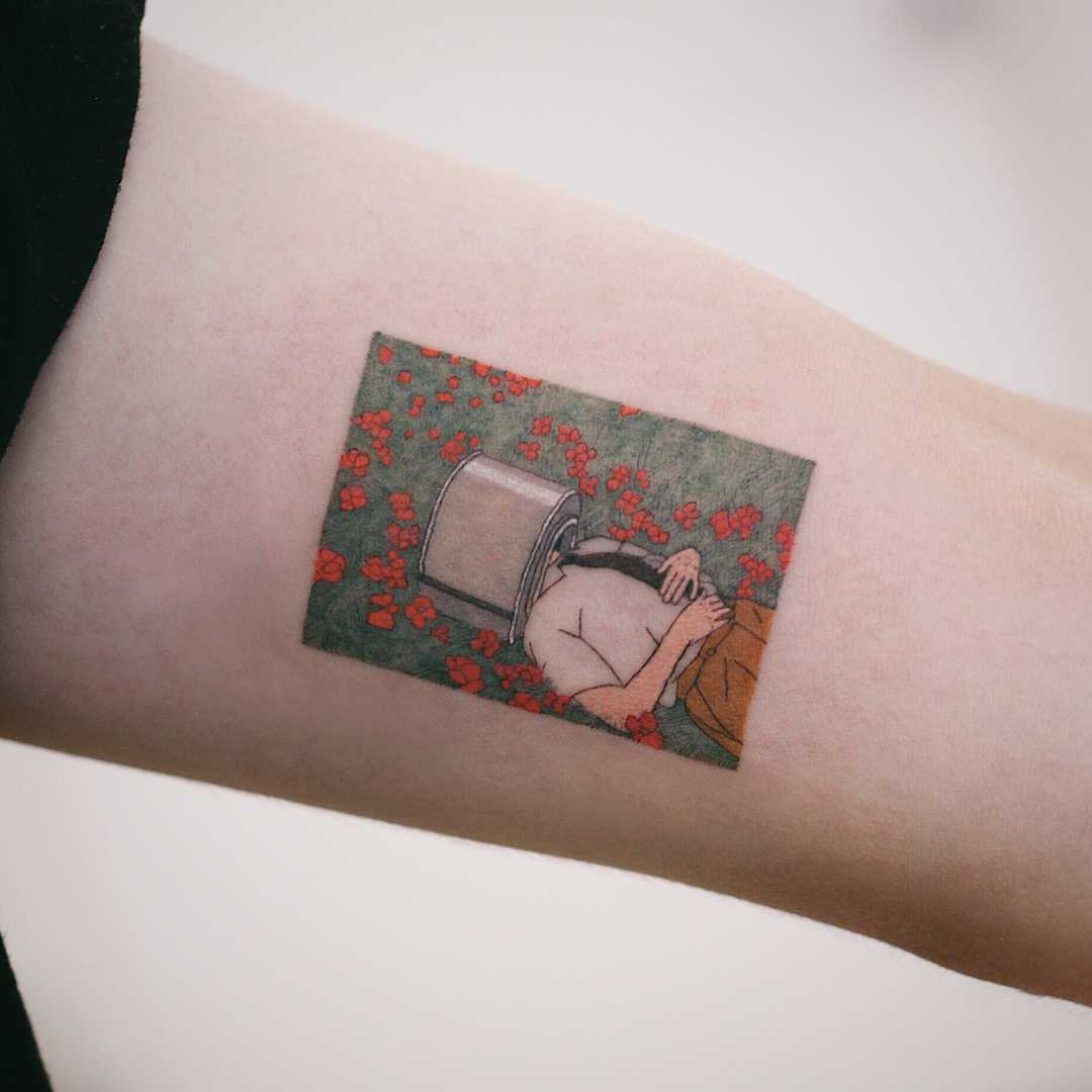 Rute Modan's illustration by tattooist Saegeem