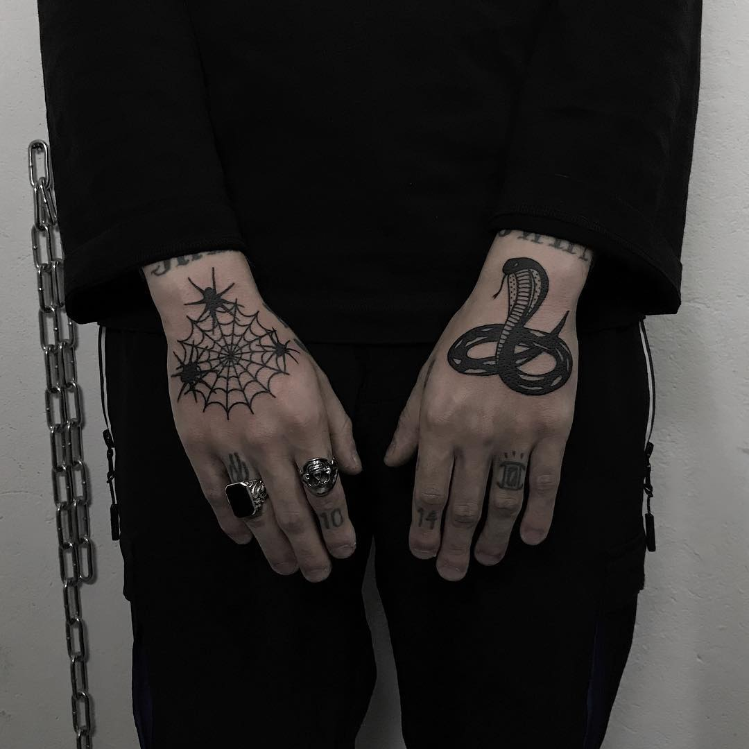Snake and spider web by @ylitenzo