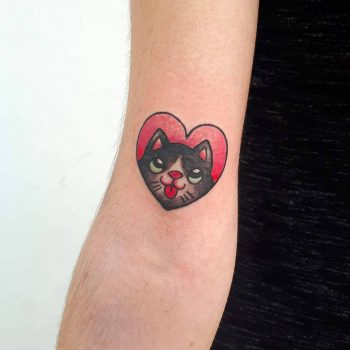 St. Valentine cat by @silly_girl_tatts