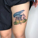 Watercolor farmhouse tattoo by Choco Chiang