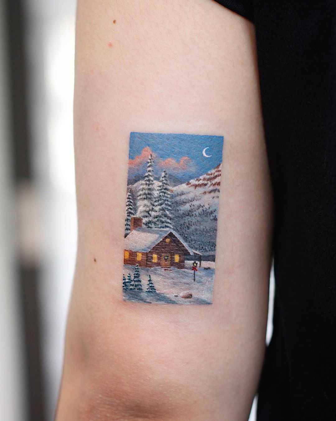 Winter scene by tattooist Saegeem