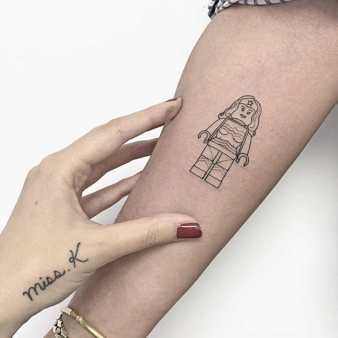 Wonder Woman Lego gal tattoo by Sara Kori