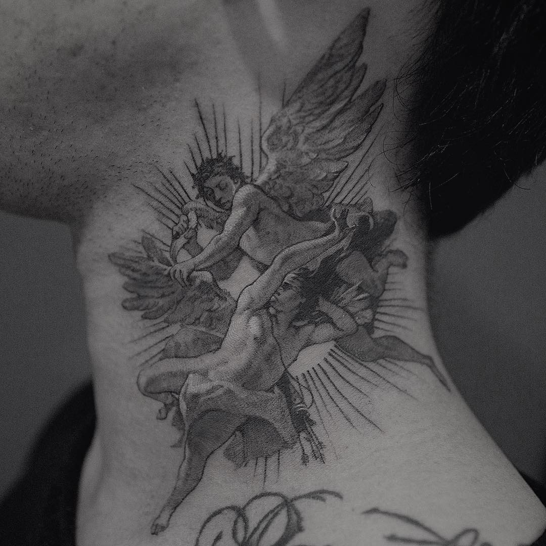 Angel fight by @coldgraytattoo