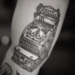 Antique cash register tattoo by @patcrump