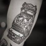 Antique cash register tattoo by @patcrump