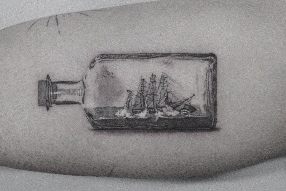Bottle x Ship by @coldgraytattoo