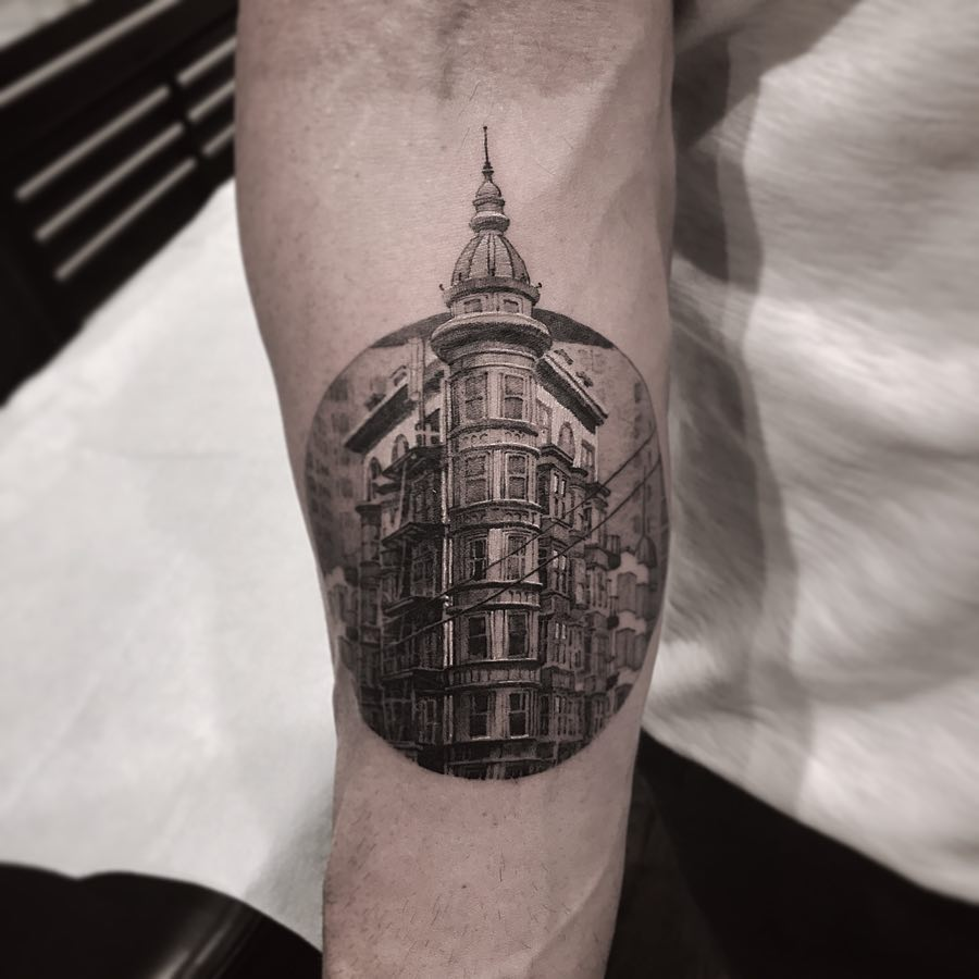 Columbs Tower by @coldgraytattoo