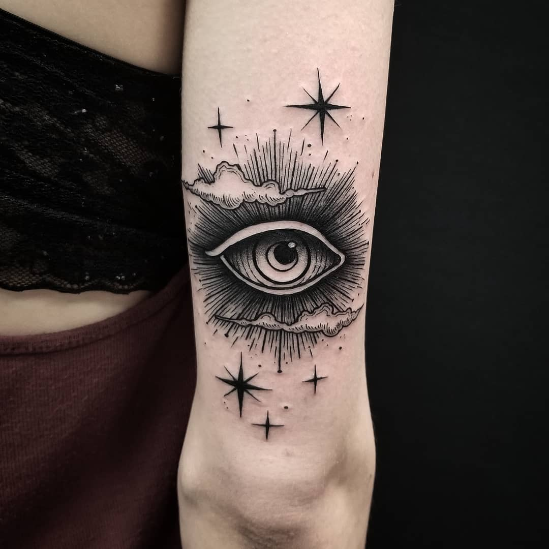Eye in the clouds by @thomasetattoos