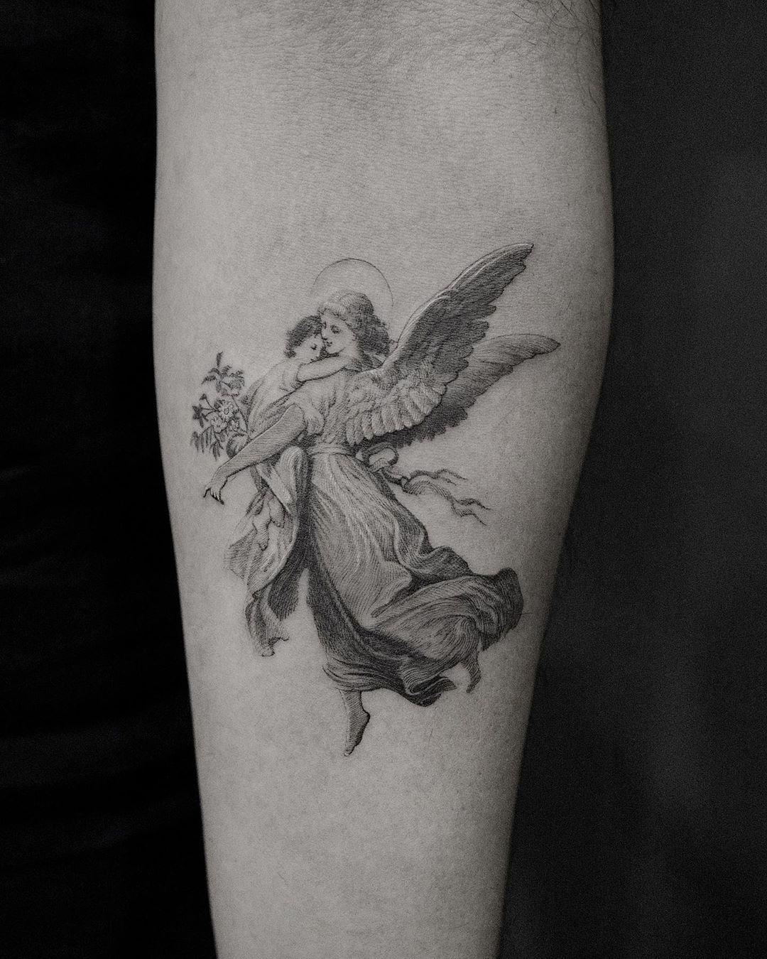 Guardian Angel by @coldgraytattoo