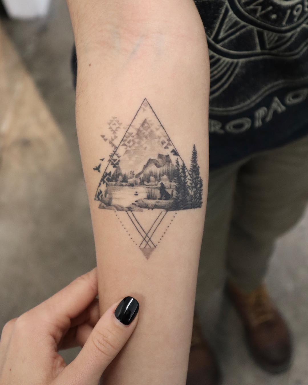 Landscape on a forearm by @trudy_lines_tattoo