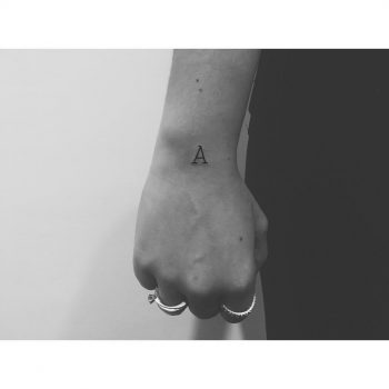 Letter A tattoo by @nancydestroyer