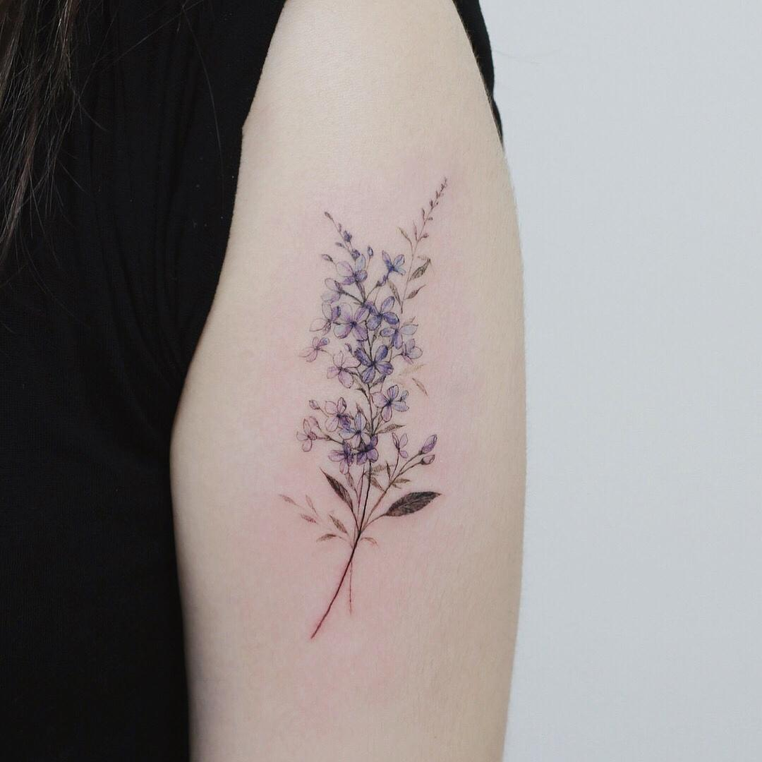 Lilac flower by @tattooist_flower