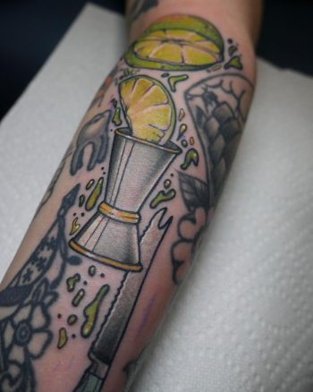 Limes and jigger tattoo by @patcrump