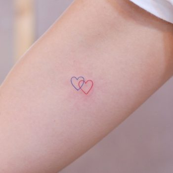 Linked hearts by @wittybutton_tattoo